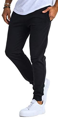 Björn Swensen Pantalon de jogging en coton pour homme - Coupe ajustée - Noir - XX-Large