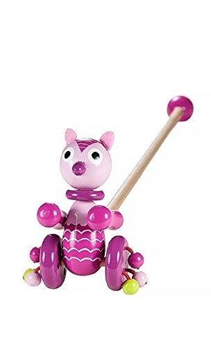 Mousehouse Gifts Rosa Eule Nachziehspielzeug Nachziehen Holz Spielzeug zum Schieben für Kleinkind Mädchen