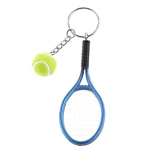 Raqueta De Tenis Llavero Deporte Linda Mini Llavero del Coche Colorido Llavero Colgante Llavero De Los Deportes Quién Regalos De Deportes (Azul)