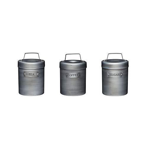 KitchenCraft Industrial Kitchen 3-er Set Vorratsdosen für Tee, Kaffee und Zucker, in Geschenkbox, Vintage-Style Metall, Grau