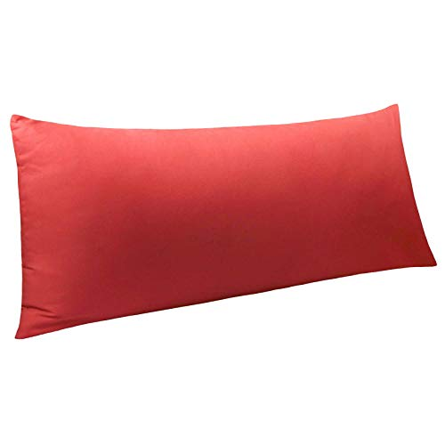 """NTBAY Body Pillow Cover, Pillowcase, 100% Brushed Microfiber, Soft and Cozy, Envelope Closure, for Adults Pregnant Women, 20"""" x 54"""", Wine Red"""