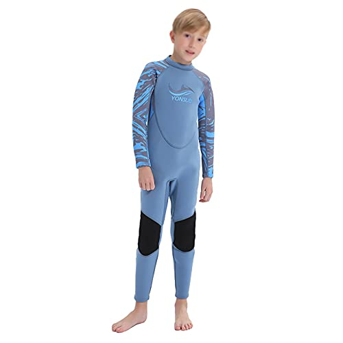 MOYOTO Traje De Baño De Protección Solar para Niños Traje De Trabajo Wetsuit Traje De Baño De Manga Larga con Cremallera Trasera Manténgase Caliente para El Surf De La Tabla, Kayak,Azul,XL