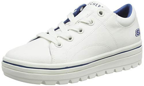 Skechers Women's Street Cleat. Canvas Contrast Stitch lace up Sneaker, White, 7.5 M US