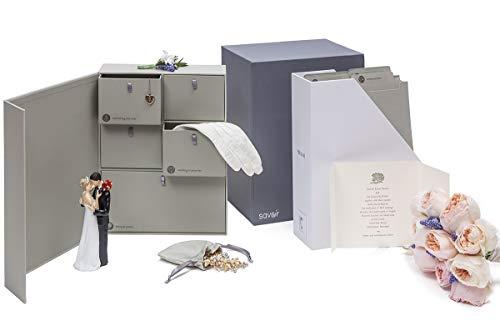 Wedding Keepsake Box - Engagement Keepsakes Box - Personalized Memory Box Registry Gift Bridal Keepsake Organizer with Labels - Handmade - Acid-Free - Customizable - Wedding Shower Gift (Gray)