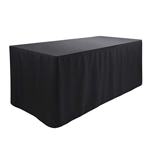 """Waysle 4 Feet (L x W: 48""""X30"""") Rectangle Fitted Tablecloth for Wedding Party Banquet,Polyester Cloth Fabric Cover, Black"""
