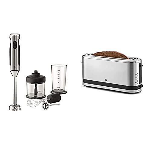 WMF Lineo Edelstab Stabmixer 4 in 1: Pürierstab, Schneebesen, 700 Watt, inkl. Mixbehälter (1l), cromargan matt/silber & Küchenminis Toaster Langschlitz mit Brötchenaufsatz, 2 Scheiben, XXL, 900W