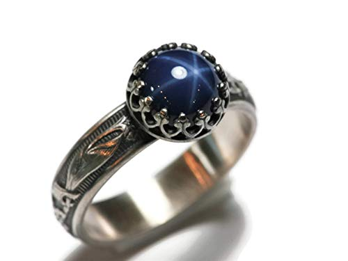 8mm Created Blue Star Sapphire Ring Blooming Flower Crown Vintage Silver
