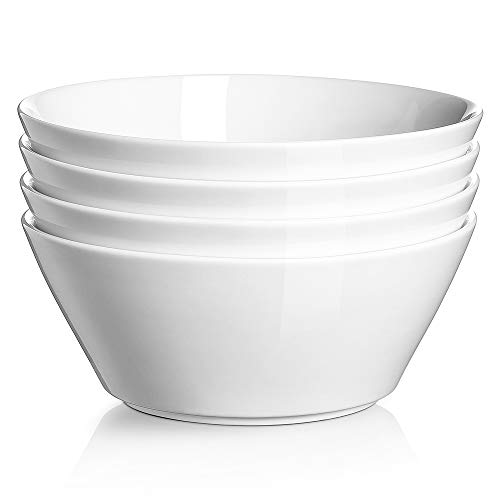 DOWAN Ceramic Soup Bowls, 32 Ounces White Ramen Bowl for Noodle, Porcelain Salad Bowls Set of 4, Large Cereal Bowls for Kitchen, Dishwasher & Microwave Safe