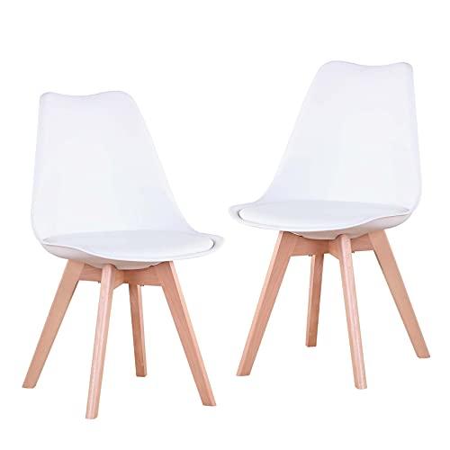 EGOONM 2er Set stühle Esszimmerstühle mit Massivholz Buche Bein, Retro Design Gepolsterter Stuhl...