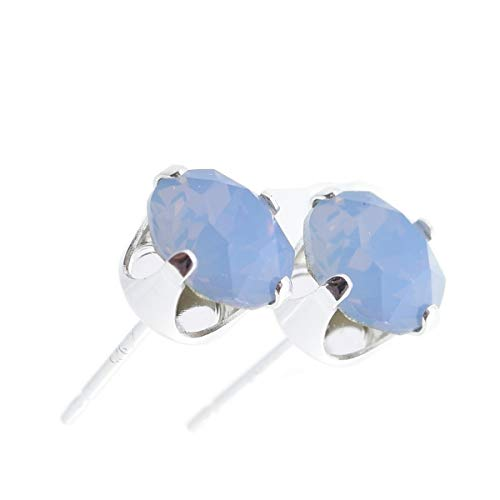 pewterhooter women's 925 Sterling silver stud earrings made with sparkling Air Blue Opal crystal from Swarovski. Gift box. Made in the UK. Hypoallergenic & Nickle Free for Sensitive Ears.