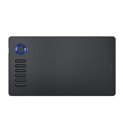 Tableta de Dibujo gráfica VEIKK A15 Pro Tableta de Dibujo Digital de 10 x 6 Pulgadas con 12 Teclas de Acceso rápido y un dial rápido (lápiz óptico sin batería de Nivel de presión 8192) (Azul)