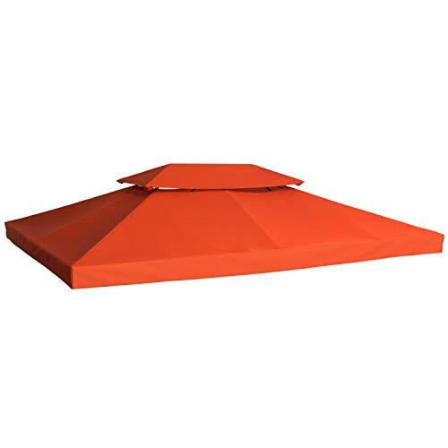 Outsunny Ersatzdach Pavillondach für Metallpavillon Gartenpavillon Partyzelt Gartenzelt Polyester 3x4m Orange