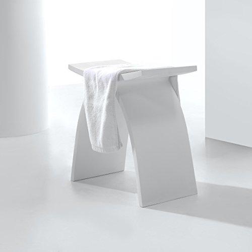 KKR Design Kunststein Badhocker/Duschhocker/Sitzhocker aus Mineralguss Modell: Stool-A, Oberfläche:Matt