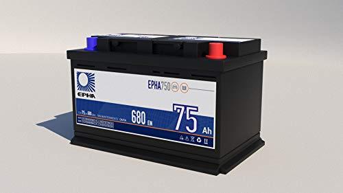 Bateria arranque coche EPHA750 12v 74Ah 75Ah +Derecha 680A equivalente a TB740,...