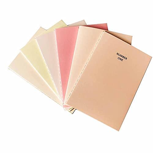 6 Piezas A5 de Cuaderno Pequeño, Cuadernos Escolares, Diario de Viaje Portátil, Cuaderno Bonito de Color Rosa, para Viajes, Oficina, Estudio, Regalos (Serie Rosa)