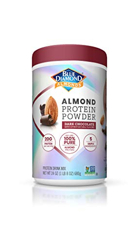 Blue Diamond Almonds Almond Protein Powder, Dark Chocolate - 20g Protein, Plant Based, Vegan, Gluten Free, Non Dairy, Non-GMO, 100% Pure Almond Protein, 24 Ounce