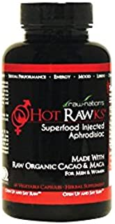 Organic Libido Booster for Men and Women, Natural Supplement, Hot Rawks Sexsual Enhancer with Maca Root and Caco, Hot Rawks Raw Nations- Superfood Injected Aphrodisiac 60 Vegetarian Capsules