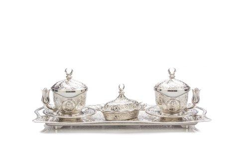 Sena Tiryaki Einzigartiges orientalisches Kaffeeset für 2 Tassen aus Porzellan, 2 Kupfer-Becherhalter, 2 Deckel, 2 Untertassen, 1 Tablett, 1 Zuckerbecher und Deckel