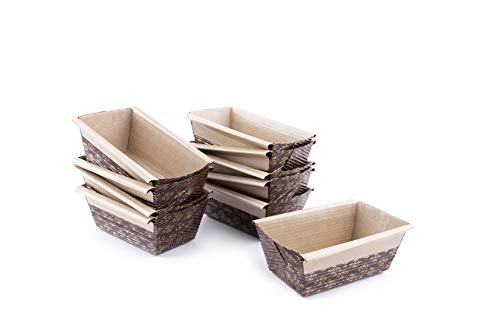 "Paper Loaf Pan, Disposable Paper Baking Loft Mold 25ct, All Natural, Recyclable, Microwave Oven Freezer Safe, Providing Beautiful Display For Baked Goods 4""x2""x2"""