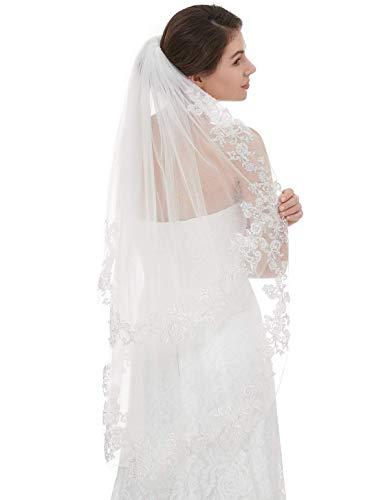 EllieHouse Women's Short 2 Tier Lace Ivory Wedding Bridal Veil with Comb L37IV