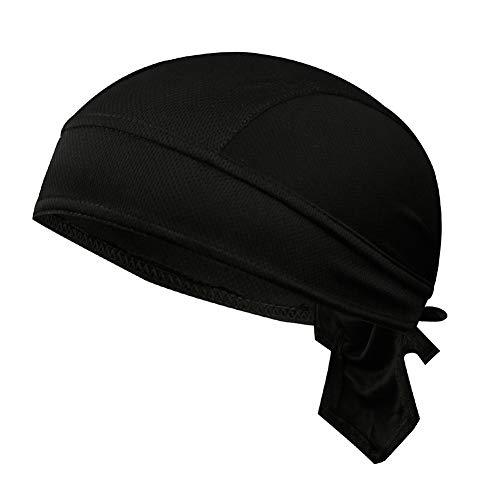 Sombrero pirata, pañuelo para la frente, hip hop, de algodón, turbante, bandana, gorro de verano, transpirable, deportivo, para bicicleta, unisex, Negro , Talla única