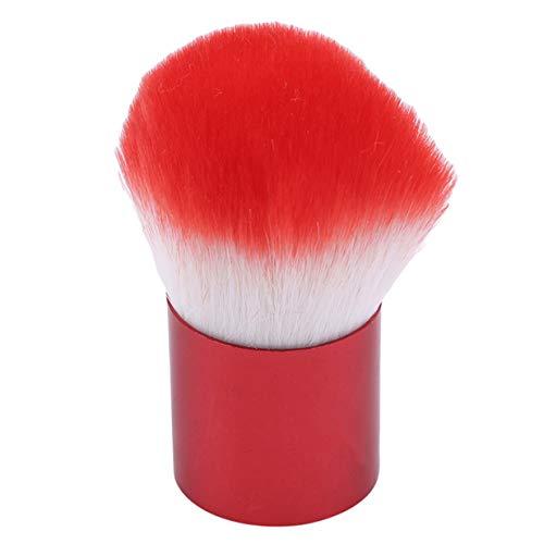 EJY Doux Kabuki Brosses Nail Art Dust Remover Poudre Brosse Nail Arts Cleaner Brosse pour Maquillage Nail Arts Manucure Outil avec Couleur Unie Poignée,Rouge