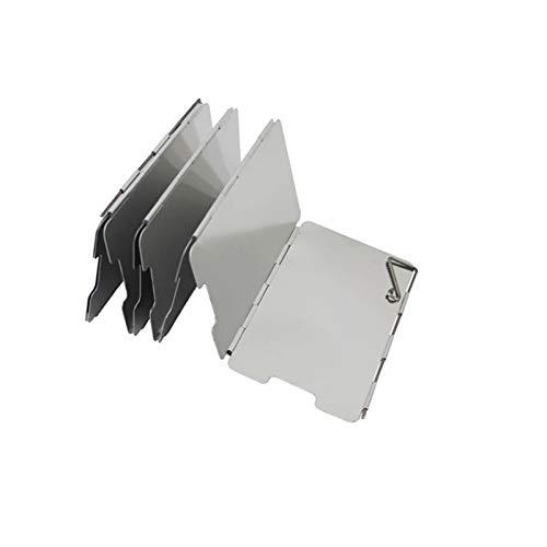 Protector de viento para hornillo de camping, plegable, de aluminio, para exteriores, hornillo de gas, parabrisas para barbacoas, con bolsa de transporte (7 unidades)
