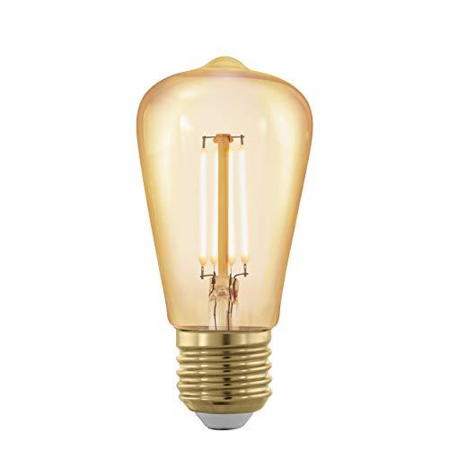 EGLO LED E27 dimmbar, Golden Vintage Glühbirne, LED Lampe, Retro Beleuchtung, 4 Watt (entspricht 30 Watt), 320 Lumen, E27 LED warmweiß, 1700 Kelvin, LED Leuchtmittel, Edison Glühbirne ST48, Ø 4,8 cm
