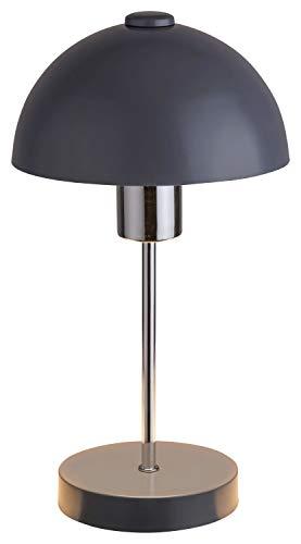 Tischlampe Rund NUTAN mit Schalter Grau Silber indirekt E27 Bauhaus Nachttischleuchte Schlafzimmer