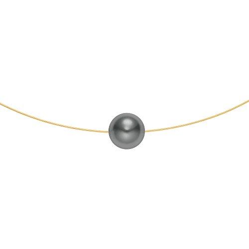 Heideman aus Edelstahl Gold farbend matt Kette für Frauen mit Swarovski Perle dunkel grau rund 10mm