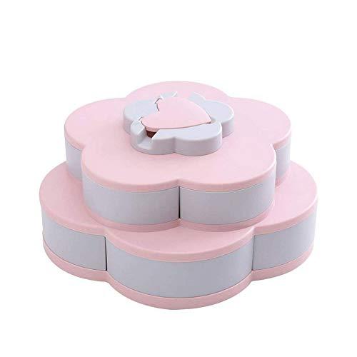 Asien 1pcs Double-Layer-Rotating Obstschale Petal Form Snack Lagertablett Kreative Blumen-Entwurf für Süßigkeit Nahrungsmittelbehälter Rosa