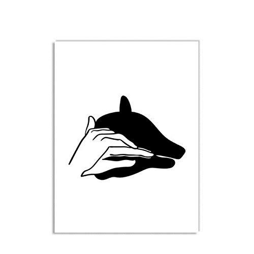 Luck7 Leinwand Druck Poster 23.6'x35.4'(60x90cm) Hand Tier Schatten Kaninchen Hund Adler Baby Kinderzimmer Dekor T4 Wandkunst Kunstwerk Malerei Kunstdrucke Bild Kein Rahmen
