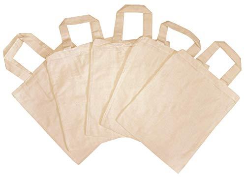 5 Stück Kinder Stoffbeutel, unbedruckt, zum Bemalen, Besticken, Bekleben 22 x 27 cm, 100% Baumwolle, 2 kurze Henkel Kinder Bastelset, Apothekerbeutel Einkaufstasche Natur