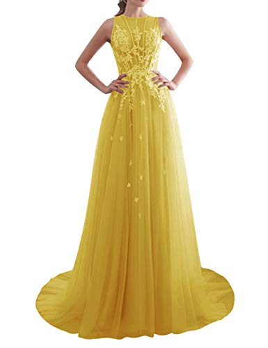 Prom Dresses Formal Evening Gowns Long Lace Prom Party Gown Tulle Evening Dresses Appliques Yellow