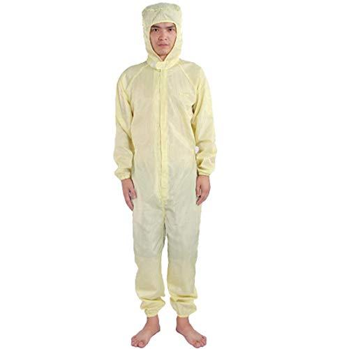 2 delige set Beschermend Kostuum van anti-statische kleding, overall, overalls, stofvrij Jumpsuit, Labjassen,Yellow,XL