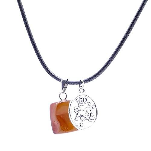 ARITZI - Collar de Cola de ratón de 45 cm con Piedra de Canto rodado de Carneola y Dije de horóscopo de Leo