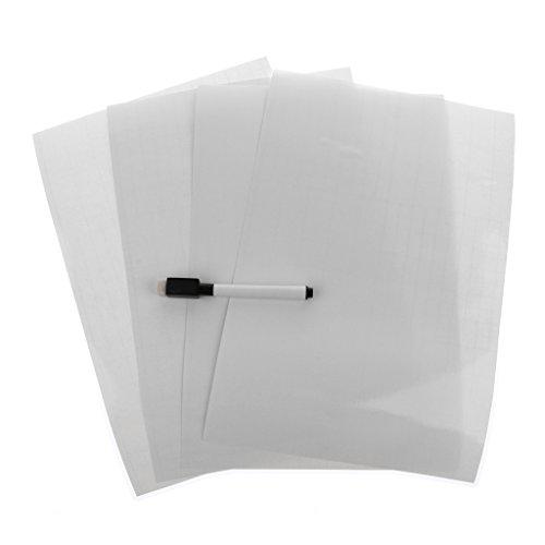 Gazechimp Etiqueta Engomada de La Pared de La Pizarra Blanca de Borrado en Seco Adhesivo de 4 Piezas para El Mensaje del Menú de Inicio de Los Niños