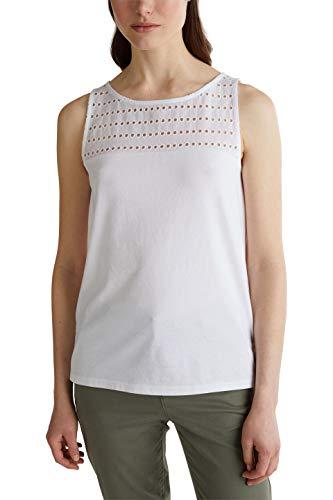 Esprit Damen 040EE1K334 T-Shirt, 100/WHITE, M