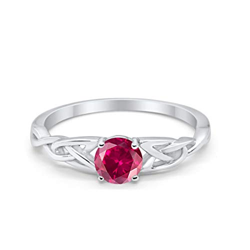 Blue Apple Co. Celtic Trinity Ring Solid 925 Sterling Silver Wedding Engagement Promise Ring SolitaireSimulated Ruby Cubic Zirconia Size-8