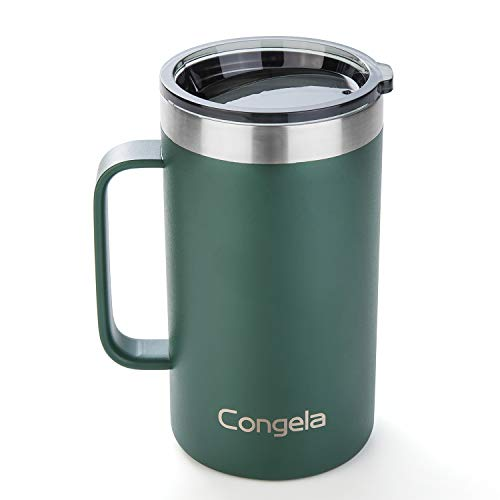 Congela stainless steel insulated mug with handle, vacuum camping cup with smoke color Tritan lid