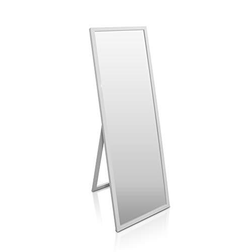 Classic by Casa Chic - Großer Standspiegel - 130x45 cm - Echtholz - Handgefertigter Wandpiegel - Weiss