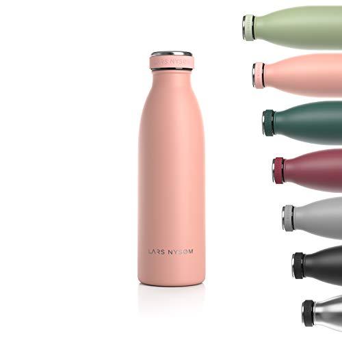 LARS NYSØM Edelstahl 0.5 Liter Trinkflasche | BPA-freie Isolierflasche 500ml | Auslaufsichere Wasserflasche für Sport, Fahrrad, Hund, Baby, Kinder (Nude)