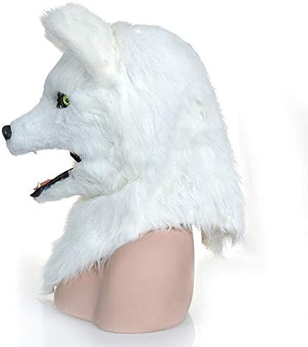 Meipa Time Weiße Fox-Kopfmaske Pelz-Fox-Kopfbedeckung mit beweglichem Mund für Hollween (Farbe   Weiß, Größe   25  25)