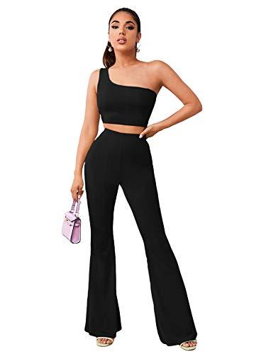 DIDK - Conjunto de 2 piezas para mujer, camiseta corta con hombros descubiertos y leggings Negro 38