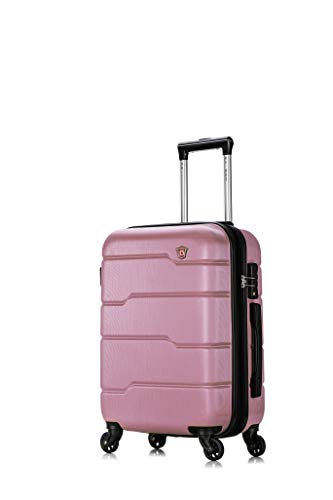 DUKAP Hardside 20' Carry-on Luggage with Ergonomic Handles and TSA Lock, Rodez Collection Travel Suitcase with Four Spinner Wheels and Studs, Rose Gold