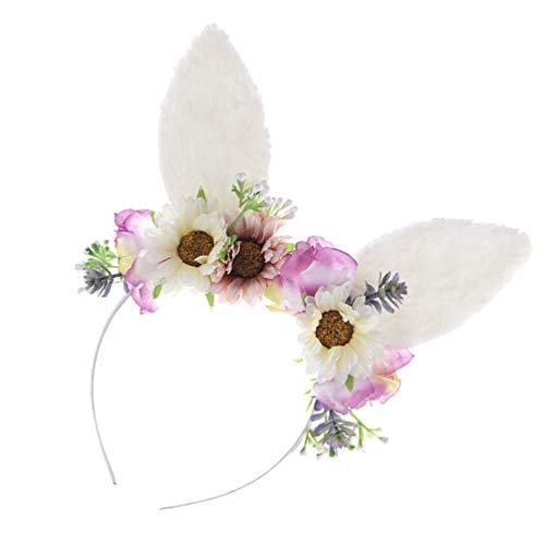 Desconocido Genérico Diadema de Pascua Orejas de Gato Diadema Flor Floral Corona Diadema Disfraz de Fiesta de Pascua Cosplay Accesorios para El Cabello