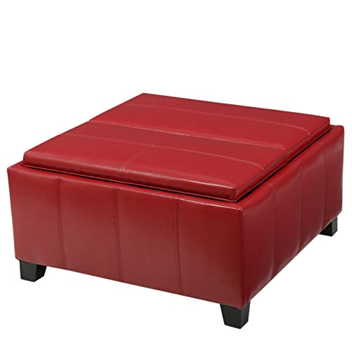 Christopher Knight Home Mansfield PU Storage Ottoman, Red