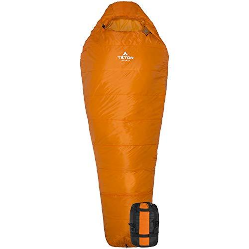 TETON Sports Altos Lightweight Mummy Sleeping Bag; Camping, Hiking, Backpacking, 18C, 1169, Orange