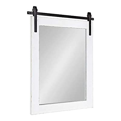 Kate and Laurel Cates Rustic Wall Mirror, 22x.75x30, White