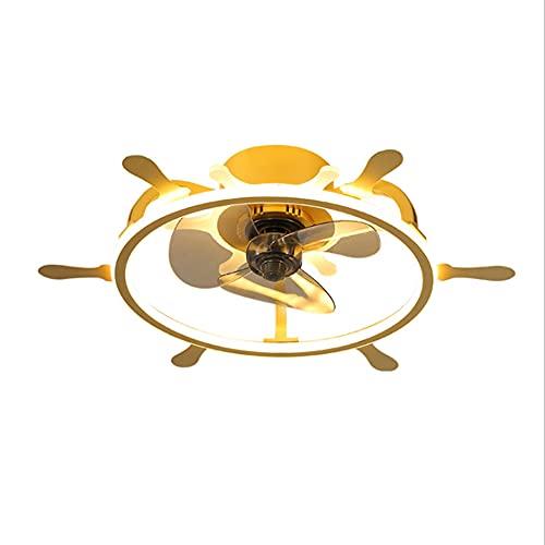 Jun Interior Moderno Minimalista Personalidad Color Variable Control Remoto Multivelocidad LED Luz De Ventilador De Techo Dorada